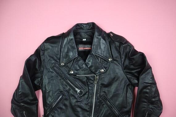 Brooks 1980s Vintage Motorcycle Leather Jacket - image 3