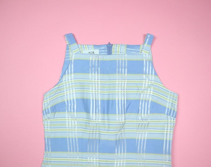 AGB Byer California Green & Blue Plaid 1990's Vintage Shift Dress