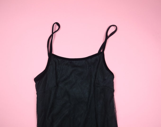 Black Crinkle Mesh Overlay Spaghetti Strap 1990's Vintage Dress