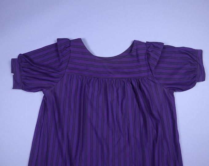 Black & Purple Stripe Georgee Originals 1980s Vintage House Dress
