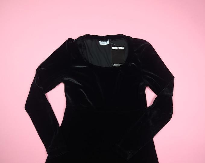 AZ U R Black Velvet Long Sleeve 1990's Vintage Dress