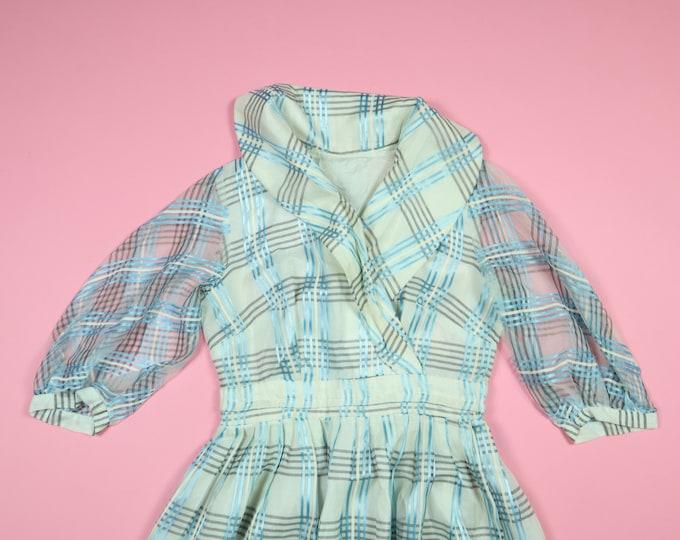 White & Blue Plaid Vintage A-Line 50s Style Dress