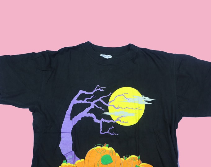 Spooky Tree & Pumpkins 1990s vintage Halloween Tshirt