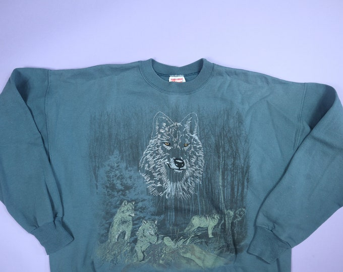 Wolves in Trees Embroidered Animal 1990's Vintage Sweatshirt
