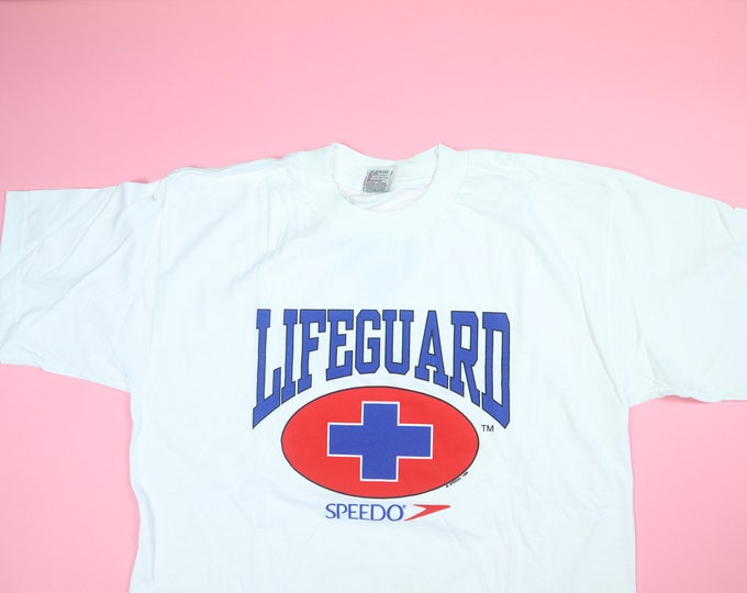 SPEEDO Lifeguard Swimming 1990's Vintage Tee