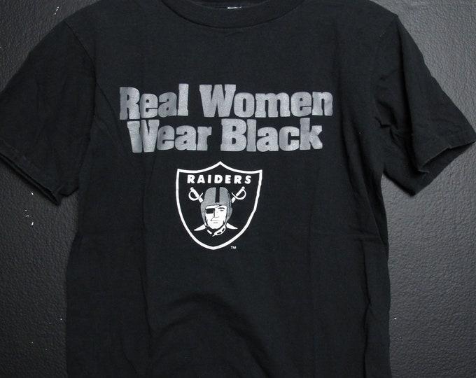 LA Raiders Real Women Wear Black 1990s Vintage Tshirt