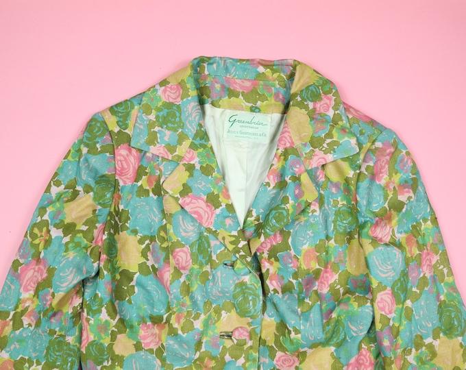 2 Pieces Floral Suit Greenbrier Sportwear Julius Garfinckel & Co. 1950's Vintage Skirt