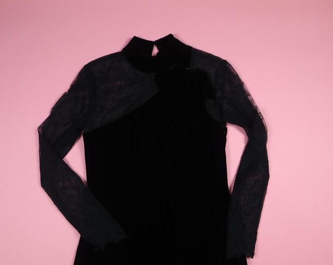 Anthony Vask Lace & Velvet 1990's Vintage Dress