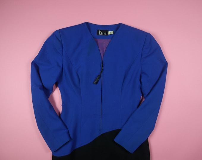 Kishi Color Block Tassle 1990s Vintage Dress