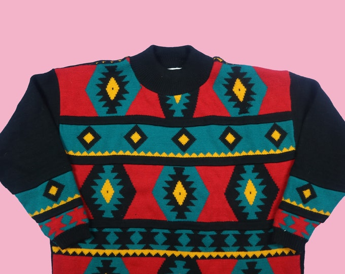 Diana Marco Shapes Colorful Vintage Knit Sweater