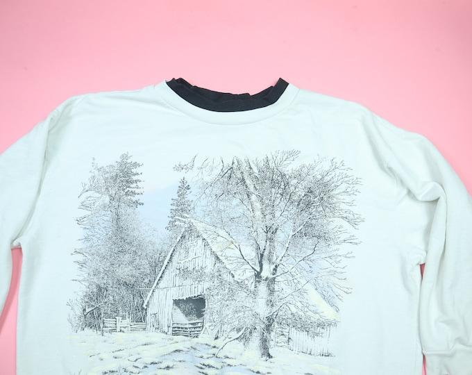 Winter Scene Barn All Over Print 1990's Vintage Sweatshirt