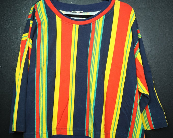 Striped Yellow Green Red & Blue 1990's Vintage Shirt