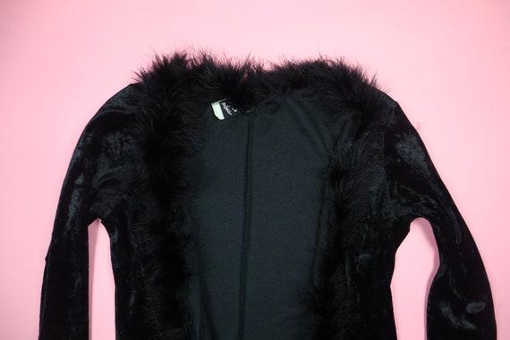 Velvet Rave Y2K Feather Trim 1990's Vintage Robe