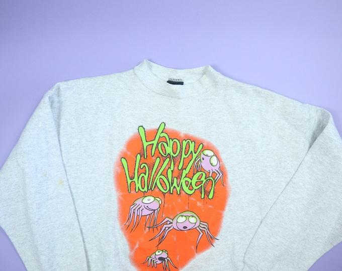 Happy Halloween Spiders 1990s vintage Sweatshirt