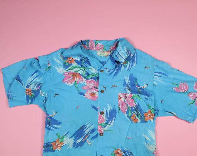 Blue Floral Hawaiian 1980's Vintage Shirt