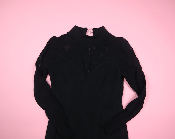 Black Lace Mesh Sleeve Fitted 1990's Expo Nite Vintage Dress