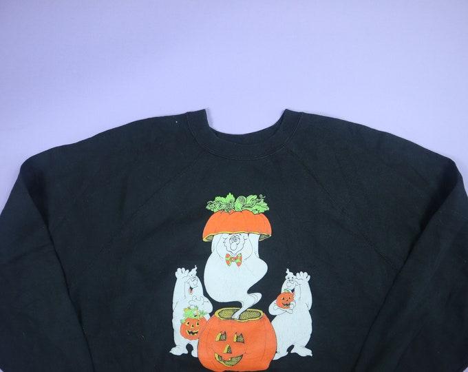 Ghosts in Jack O Lantern Pumpkin Halloween 1990's Vintage Raglan Sweatshirt