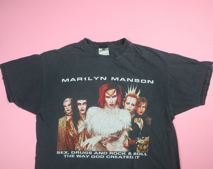 Marilyn Manson Sex, Drugs and Rock & Roll 1990s Vintage Tour Tshirt
