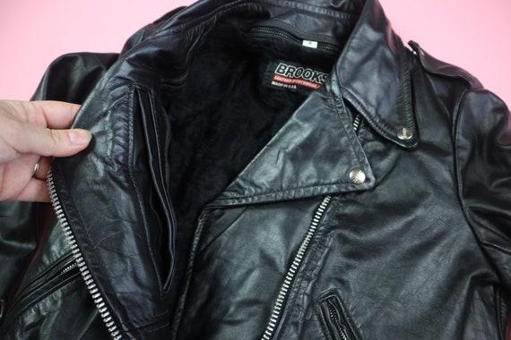 Brooks 1980s Vintage Motorcycle Leather Jacket - image 4