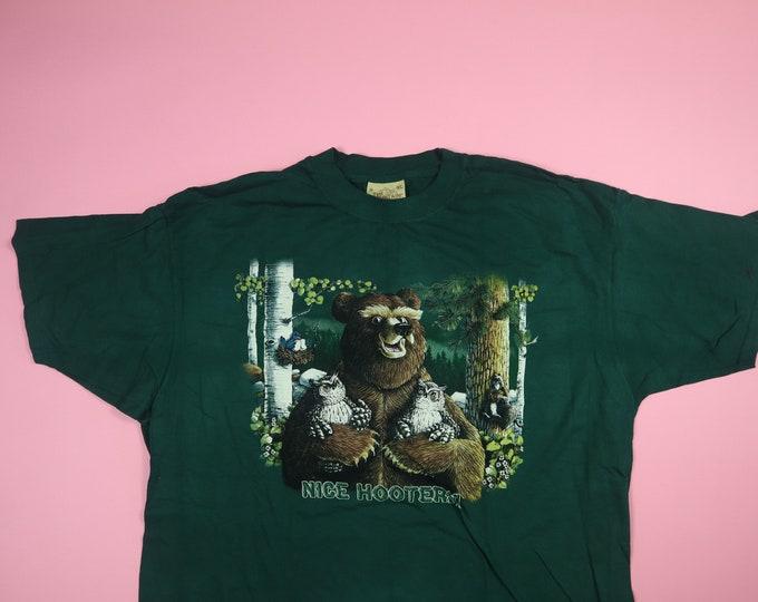 Bear & Owls Nice Hooters 1990s Vintage Tshirt