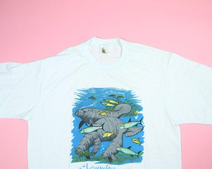 Acapulco, Mexico Manatee & Tropical Fish 1990's Vintage Tshirt