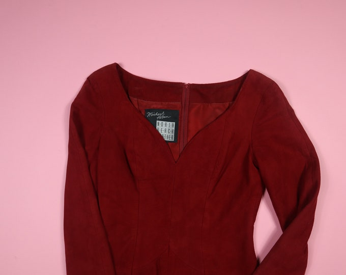 North Beach Leather - Michael Hoban 1980's Vintage Red Suede Dress