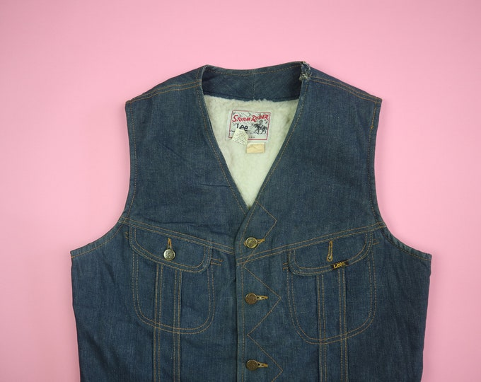 Storm Rider Lee Vintage Denim Shearling Lined Vest