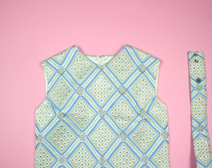 Blue, Yellow, Silver Damask Jaquard A-Line 1980's Vintage Dress