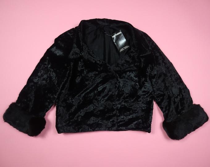 Black Crushed Velvet & Fur Vintage Jacket