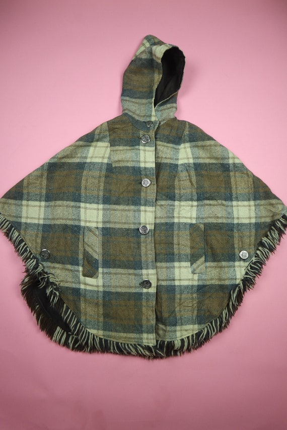 Plaid Cape With Hood & Maple Buttons Handmade 1970