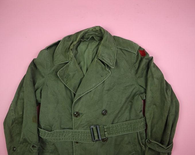 Korean War US Military Field Overcoat with Belt 1950s Vintage Trench Coat