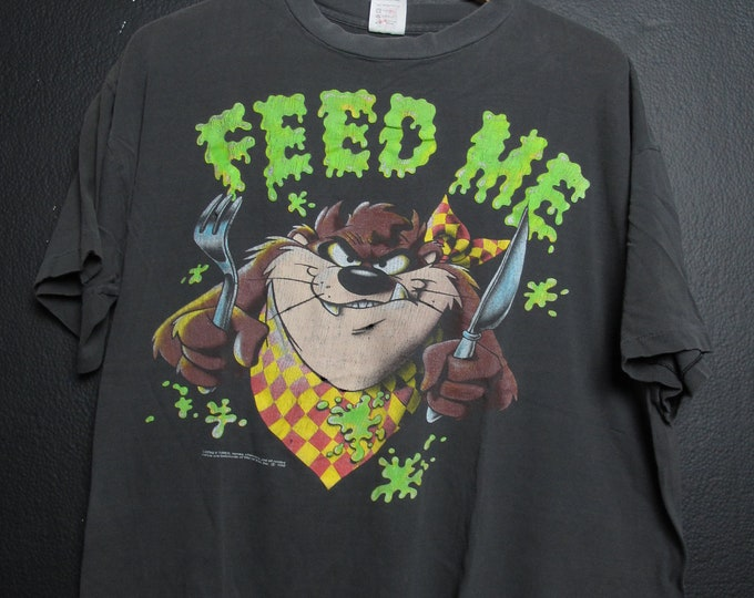 Looney Tunes Tazmanian Devil Feed Me 1992 vintage Tshirt
