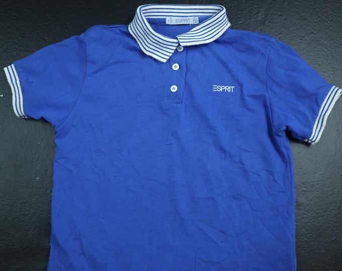 ESPRIT blue stripe kids 1990s polo tshirt