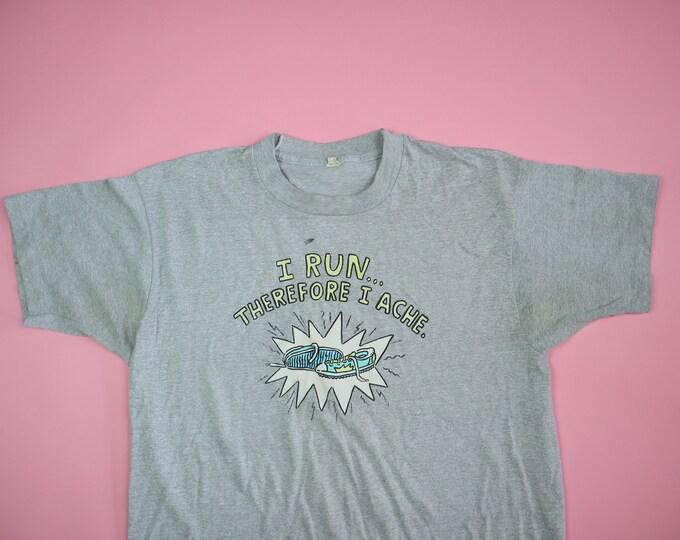 I Run Therefore I Ache 1980's vintage tshirt Screen Stars