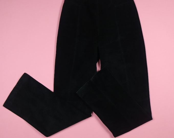 Michael Hoban North Beach Leather Black Suede High Waist Vintage Pants