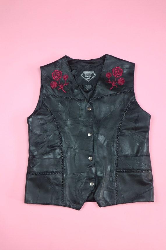 Black Leather embroidered Rose Vest