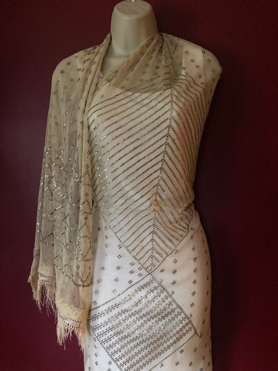 Ivory Silk Flapper Vintage Egyptian  Assuit Shawl