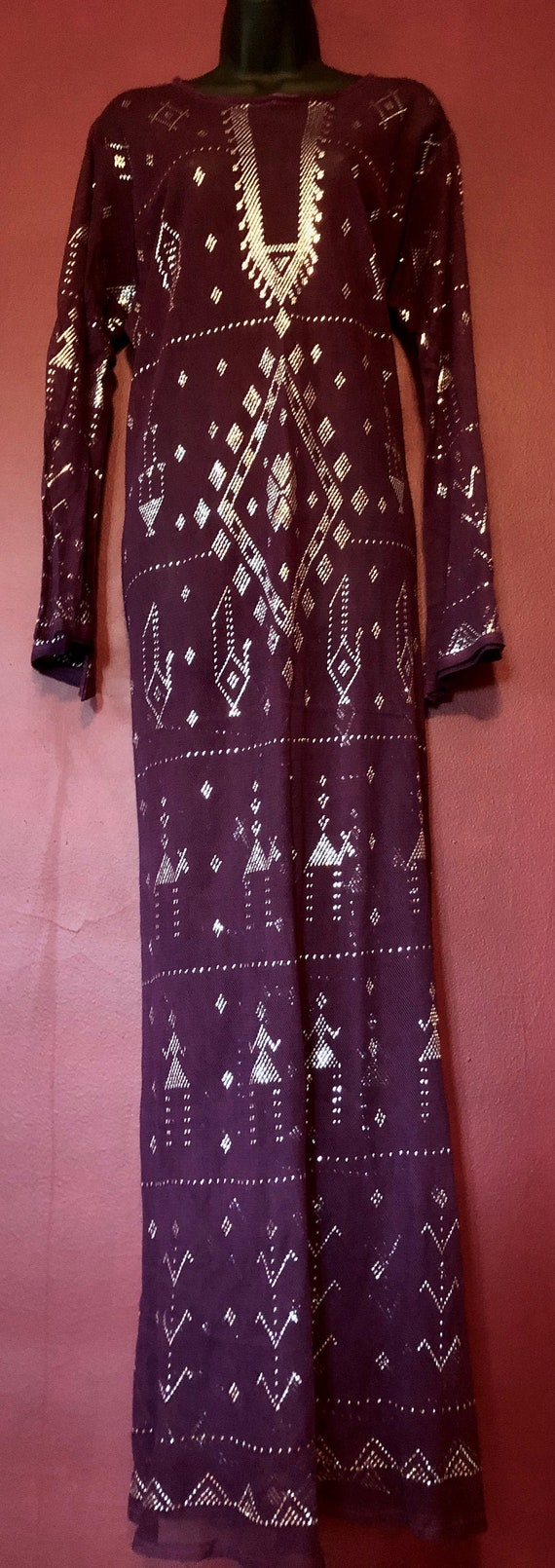 Purple and Silver Egyptian Assuit Dress/Galabeya/A
