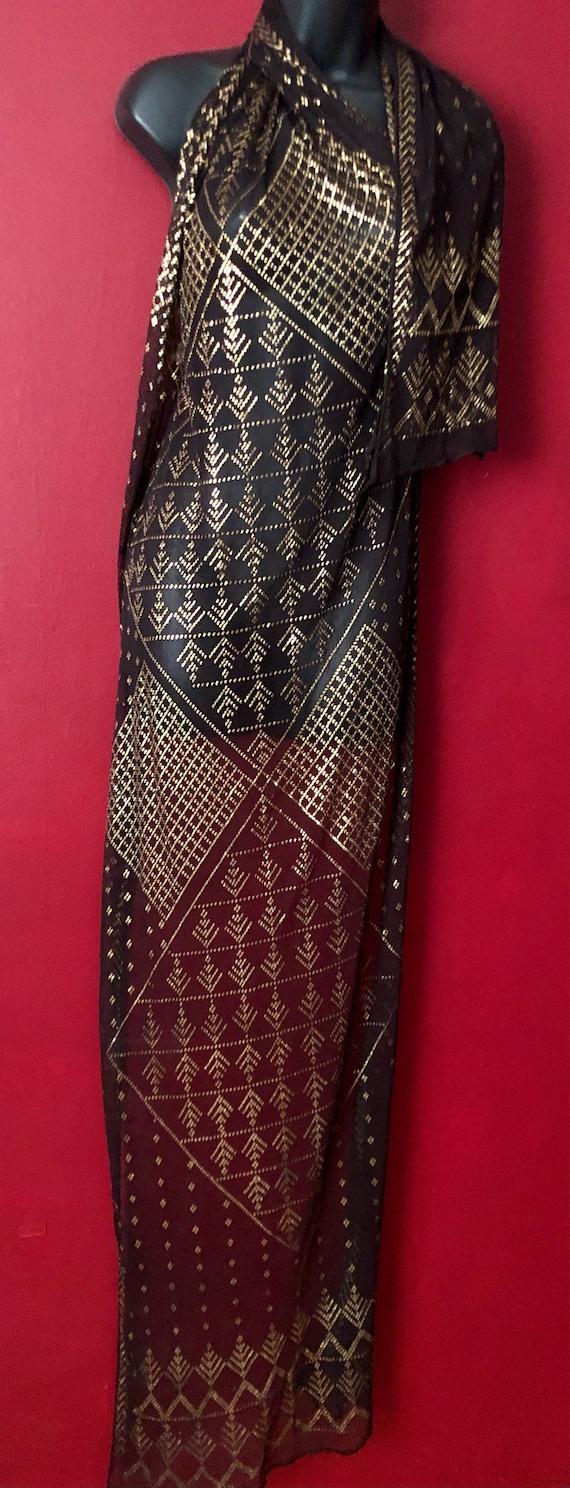 Dark Brown Vintage Egyptian Assuit DIAMOND Shawl 1