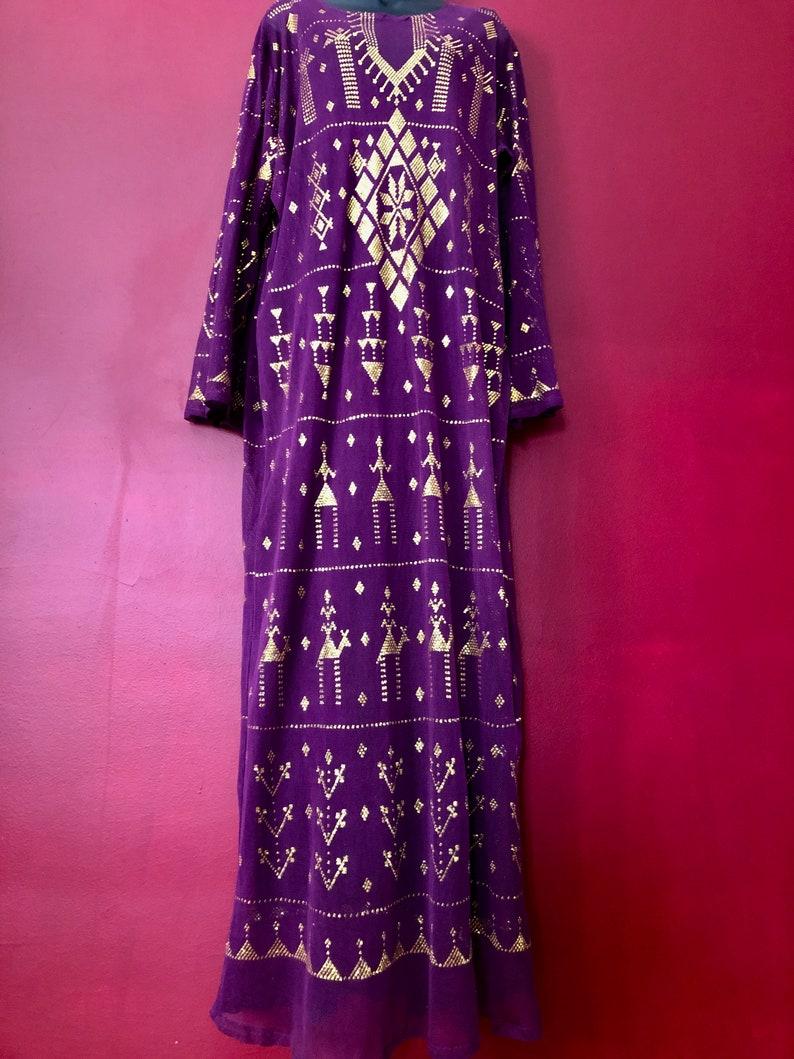 Stunning Gold on Purple Egyptian Assuit DressTunicGalabeyaAbaya and matching Full size shawl