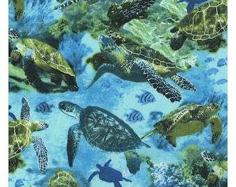 Nautical Window Valance with Sea Turtles Design on Shades of Blue Fabric