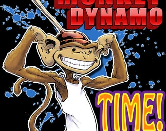 It's Plunger Monkey Dynamo Time! black tshirt