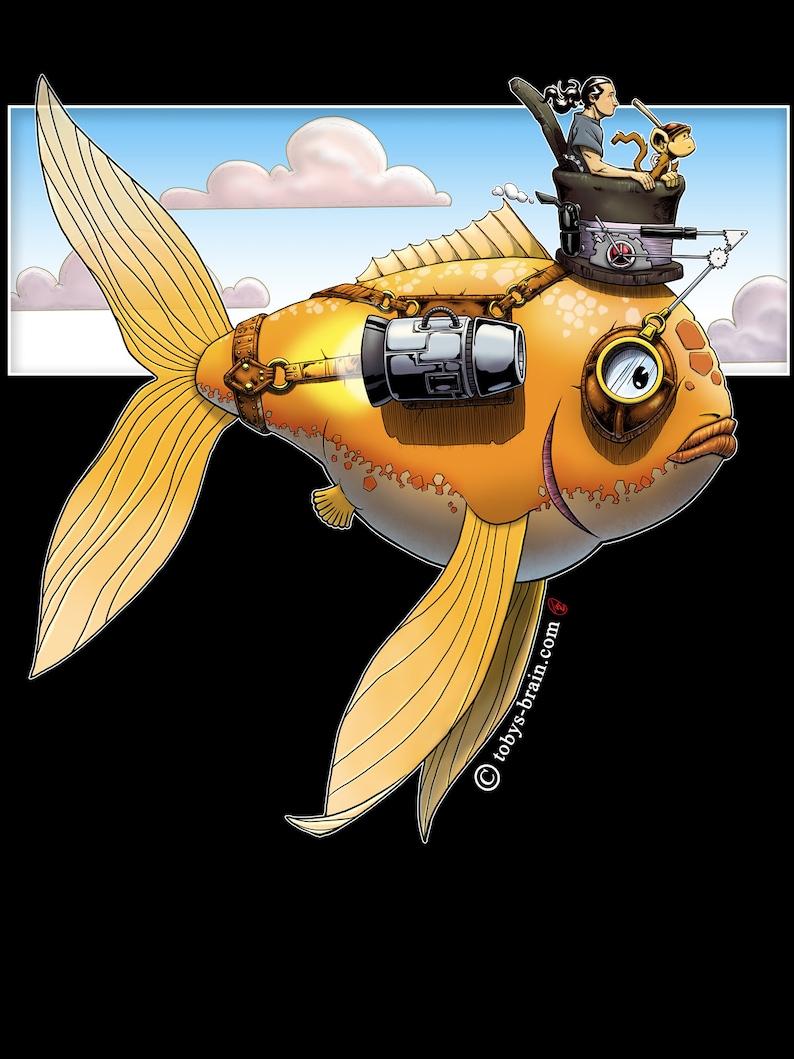 Steampunk Fish Black T-shirt image 1