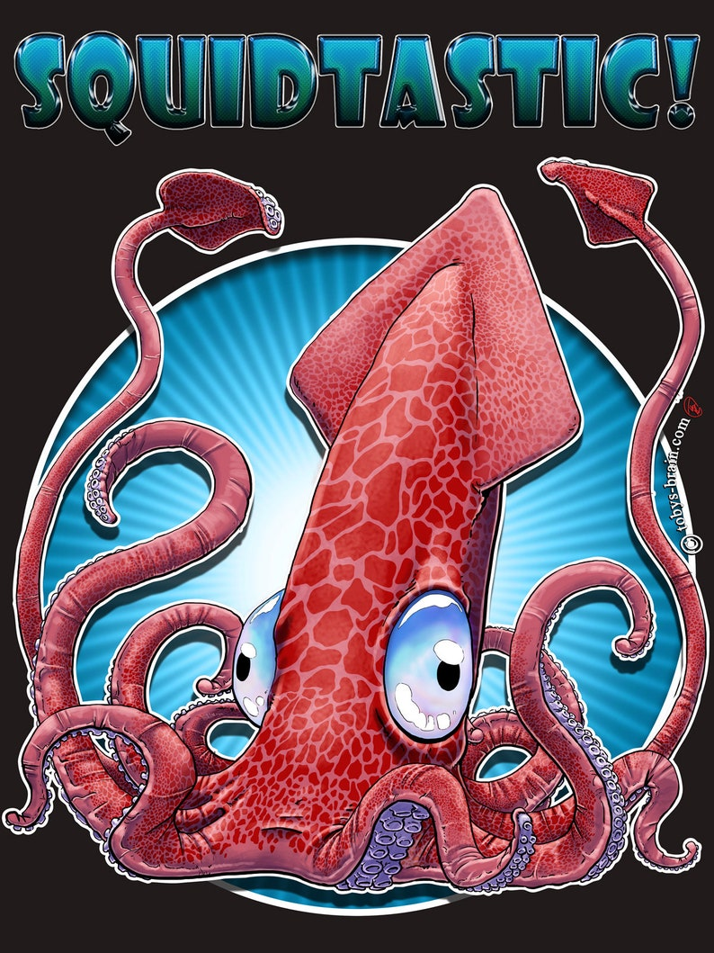 Squidtastic Multi Purpose Novelty Squid V2 Black T-shirt image 0