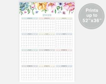 2019 large wall calendar 2019 calendar floral calendar 52x36 calendar 2019 year calendar wall planner 2019 2019 digital calendar