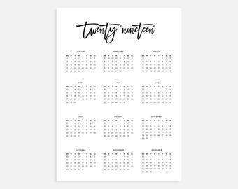 2019 calendar a3 calendar with week numbers 2019 year calendar a3 digital download calendar a3 calendar printable calendar 2019