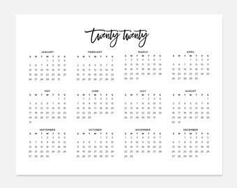 2020 simple calendar 2020 landscape calendar 2020 calendar 2020 year calendar 2020 at a glance calendar 2020 planner 2020 calendars