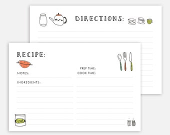 Editable recipe cards divider 4x6 Recipe cards printable | Etsy