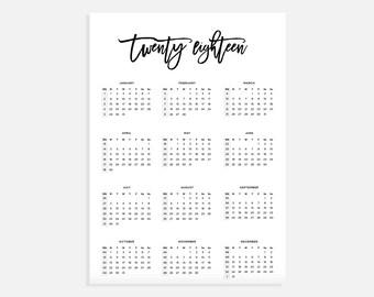 2018 calendar a3 calendar with week numbers 2018 year calendar a3 digital download calendar a3 calendar printable calendar 2018