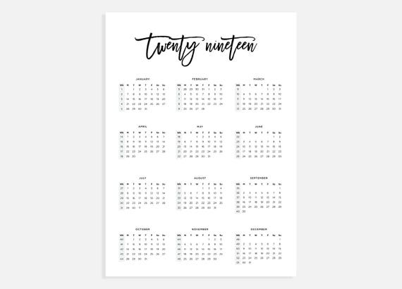 photograph regarding Printable Calendar With Week Numbers called 2019, Calendar A3, Calendar with 7 days quantities, 2019 12 months Calendar, A3 Electronic Obtain Calendar, A3 Calendar, Printable Calendar 2019